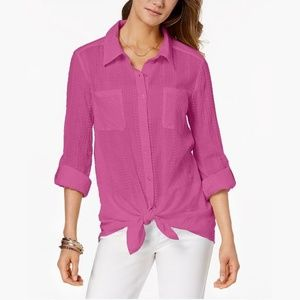 NWT Style & Co Petite Tie-Hem Shirt Semi-Sheer